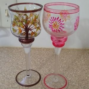 "Yankee Candle Accents - ""Yankee Candle"" Wine Glass Votive Candleholders"